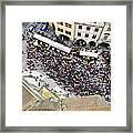 Crowd Forms At Clock Tower - Prague Framed Print
