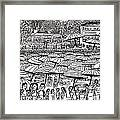 Crowded Beach Black And White Framed Print