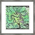 Dada Doodle In Green Framed Print