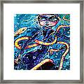 Diving With Serpent Framed Print