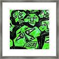 Faces - Green Framed Print