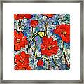 Floral Art - Red Poppies Framed Print