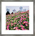 Flowers And Architecture Around Peoples Square Framed Print