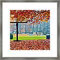 Foggy Autumn Cemetery Framed Print