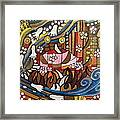 Footsteps To Peace Colorful Abstract Symbolism With Urban Cityscape Path Tracks Bird Dove Framed Print