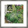 Garden Flowers With Stream Framed Print
