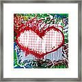 Gingham Crazy Heart Framed Print