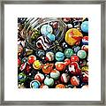 Glass Jar And Marbles Framed Print