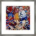 Hockey Game Scoring The Goal Framed Print by Carole Spandau