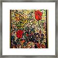 Hummingbird And Roses Framed Print