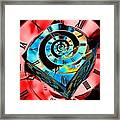 Infinity Time Cube Blue On Red Framed Print