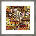Jerusalem Alleys Tall 5  In Red Yellow Brown Orange Green And White Abstract Skyline Landscape   Framed Print
