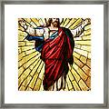 Jesus Christ Stained Glass Framed Print