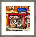Jewish Montreal Vintage City Scenes De Bullion Street Cobbler Framed Print