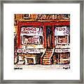 Jewish Montreal Vintage City Scenes Indigs Kosher Butcher Framed Print