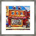 Jewish Montreal Vintage City Scenes Moishes St. Lawrence Street Framed Print