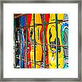 Kayaks In A Cage Framed Print