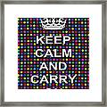 Keep Calm And Carry On Poster Print Blue Green Red Polka Dot Background Framed Print