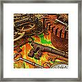 Keys Gears And Compass Framed Print