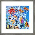 Little Mermaid In The Sea Framed Print by Janna Columbus