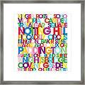 London Text Bus Blind Framed Print by Michael Tompsett