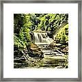 Lush Lower Falls Framed Print