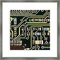 Macro View Of A Computer Motherboard Framed Print