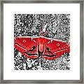 Madam Moth - Red White And Black Framed Print