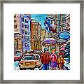 Montreal Street Scenes In Winter Framed Print by Carole Spandau