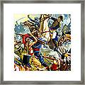 Native American Indians Vs American Soldiers Framed Print