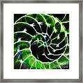 Nautilus Shell Ying And Yang - Electric - V1 - Green Framed Print