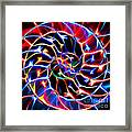 Nautilus Shell Ying And Yang - Electric - V2 - Blue Framed Print
