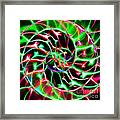 Nautilus Shell Ying And Yang - Electric - V2 - Green Framed Print by Wingsdomain Art and Photography