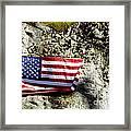 Old Glory On A Rock Framed Print