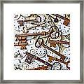 Old Keys And Watch Dails Framed Print
