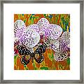 Orchids With Speckled Butterfly Framed Print