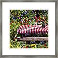 Picnic Table Among The Flowers Framed Print