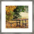 Picnic Table With Autumn Leaves Framed Print by Elena Elisseeva