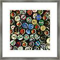 Pile Of Beer Bottle Caps . 8 To 10 Proportion Framed Print