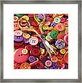 Pile Of Buttons With Scissors  Framed Print by Garry Gay