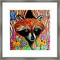 Raccoon And Butterfly Framed Print