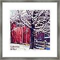 Red Barn In The Winter Connecticut Usa Framed Print