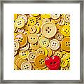 Red Heart And Yellow Buttons Framed Print