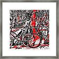 Red Lights Canal In Amsterdam Framed Print