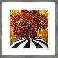 Red Mums In Striped Vase Framed Print by Garry Gay