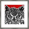 Redder Hotter Eagle Owl Framed Print by Julia Forsyth