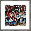Rink Hockey Montreal Street Scenes Framed Print by Carole Spandau
