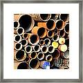Rusty Steel Pipes Framed Print