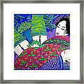 Samurai And Geisha Pillowing Framed Print