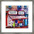 Schwartz's Deli With Lady In Green Dress Framed Print